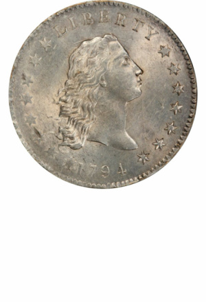 Flowing Hair Silver Dollars - Years Made: 1794 - 1795 - Mint Marks: (P) - Mintage: ~162,000 - Value Range: $1,500 - $15,000,000 - Average Circulated Retail: $5000