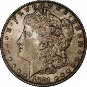 An 1881-S Morgan Dollar graded Almost Uncirculated-58. This coin has a current market value of about $35.