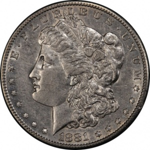 An 1881-S Morgan Silver Dollar graded Extremely Fine-45. This coin has a current market value of about $25.