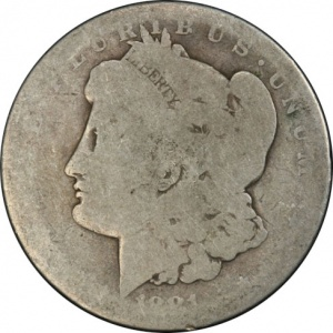 An 1881-S Morgan graded Fair-2. This coin has a current market value of about $18.