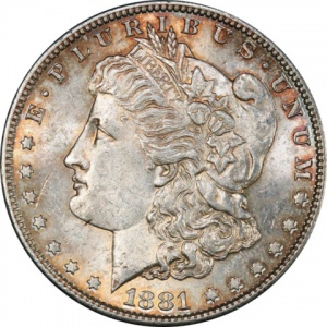 An 1881-S Morgan Dollar graded Mint State 62. This coin has a current market value of about $50.