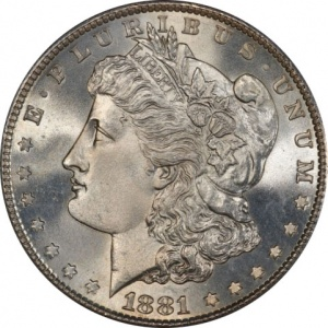 An 1881-S Morgan Dollar graded MS-66. This coin has a current market value of about $180.