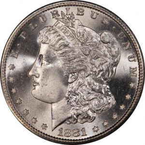 An 1881-S Morgan Dollar graded MS-68. This coin has a current market value of about $4500.