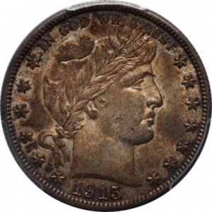 This 1915-D Barber Half is graded MS-64. Its darkly toned surfaces didn't help it at auction, where it sold for around $1000, or over $100 below most price guides, which is about on par.
