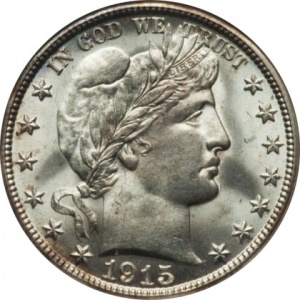 This 1915-D Barber Half is also graded MS-64. Its bright original surfaces helped it stand out at auction, where it sold for around $1400, or over $300 above most price guides.