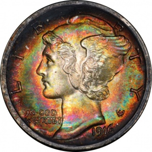 This Mercury Dime is graded Mint State 65 Full Bands. Its beautiful rainbow target toning was attractive to bidders, where it sold for around $280, or over 20% above most price guides.