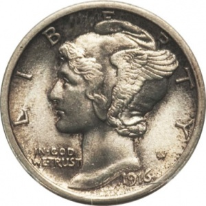 This Mercury Dime is graded Mint State 65 Full Bands. Its natural, original subtle toning made it common, so it brought around $120, or well below price guide.