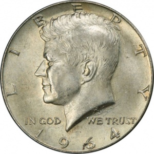 This 1964 Kennedy Half Dollar is graded Mint State 63 by a TPG. Raw, the coin is only worth its bullion value. Graded, the coin may sell for between $9 and $15.