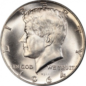 This 1964 Kennedy Half Dollar is graded Mint State 63 by a TPG. Raw, the coin is only worth its bullion value. Graded, the coin may sell for between $500 and $1000.