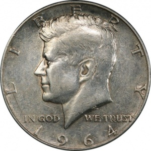 This 1964 Kennedy Half Dollar is graded Extremely Fine 45 by a TPG. The coin is only worth its bullion value, graded or raw.