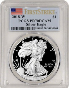 """2018-W Proof American Silver Eagle, PCGS First Strike. These coins routinely sell for $70 - $80 right after they come out. The """"First Strike"""" designation in no way reflects how fresh the dies are, or how early the coins were made. It's given to coins released by the Mint first, which bares no correlation to order made."""