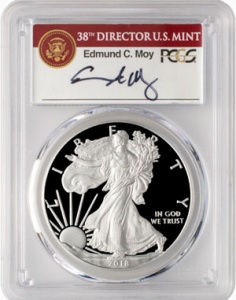 2018-W Proof American Silver Eagle, PCGS, with a label hand-signed by former Mint Director Ed Moy. These coins routinely sell for $80 to $110, but the long term valuation is always interesting to follow.