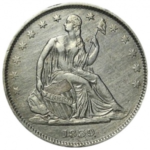 An example of problem coin an amateur numismatist should be able to spot: an 1839 Seated Half Dollar that has been harshly cleaned.