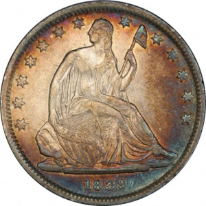 An example of problem -free coin: an 1839 Seated Half Dollar, slightly higher grade than the problem example, but with beautiful natural album toning.