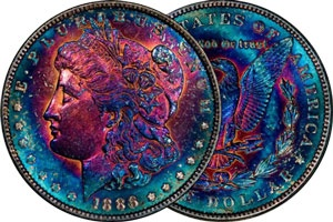 An obviously artificially toned Morgan Silver Dollar.