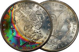 A beautifully naturally toned 1881-S Morgan Silver Dollar.