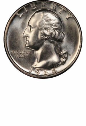 1968-D Washington Quarter, Obverse - Clad