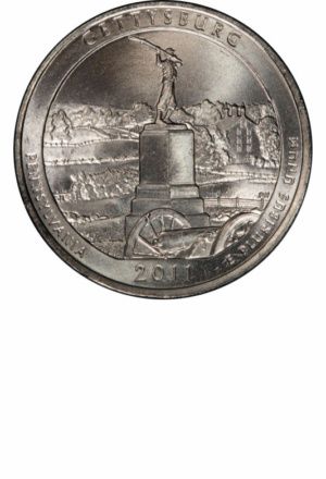 America the Beautiful Washington Quarter - Gettysburg, Reverse - Clad