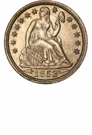 Seated Liberty Dime, Stars, Arrows, Obverse