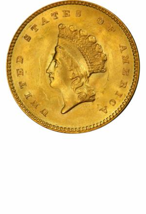 Type 2 Gold Dollar, Obverse