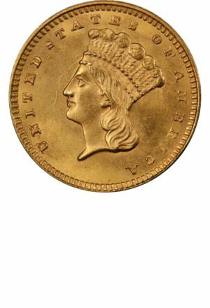 Type 3 Gold Dollar, Obverse