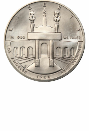 1984 Olympic Commemorative Silver Dollar, Obverse
