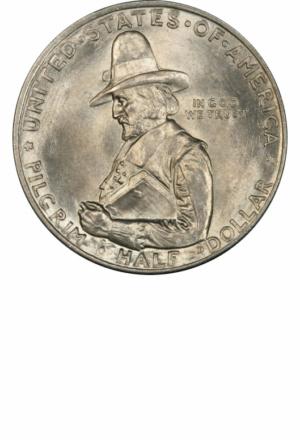 Pilgrim Commemorative Half Dollar, Obverse