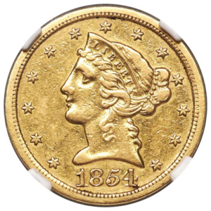 1854-S $5 Liberty Half Eagle, Obverse, 1 of 4