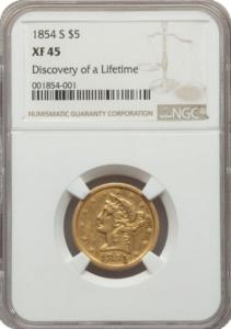 1854-S $5 Liberty Half Eagle, NGC XF45