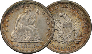 1853 Arrows & Rays Seated Liberty Quarter, Mint State 63. The only year of the type, but with a healthy mintage and plenty of availability in all grades but 67.