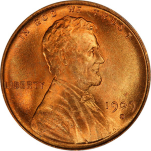 1909-S VDB Lincoln Wheat Cent, Mint State 65 Red, Obverse