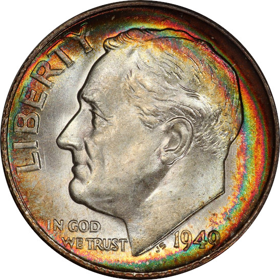 1949-S Roosevelt Dime, Mint State 67+ Full Bands, Obverse