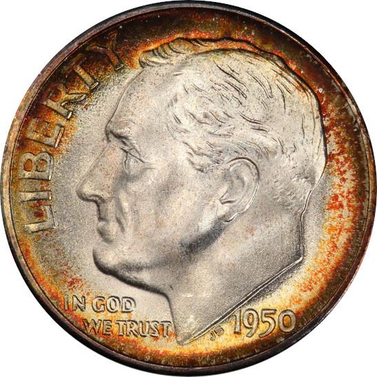 1950-S Roosevelt Dime, Mint State 68 Full Bands, Obverse