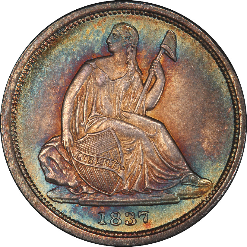 1837 No Stars Seated Liberty Dime, Obverse