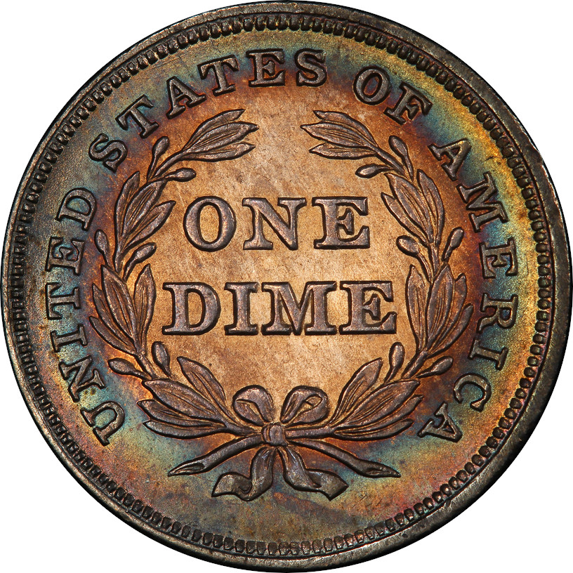 1837 No Stars Seated Liberty Dime, Reverse