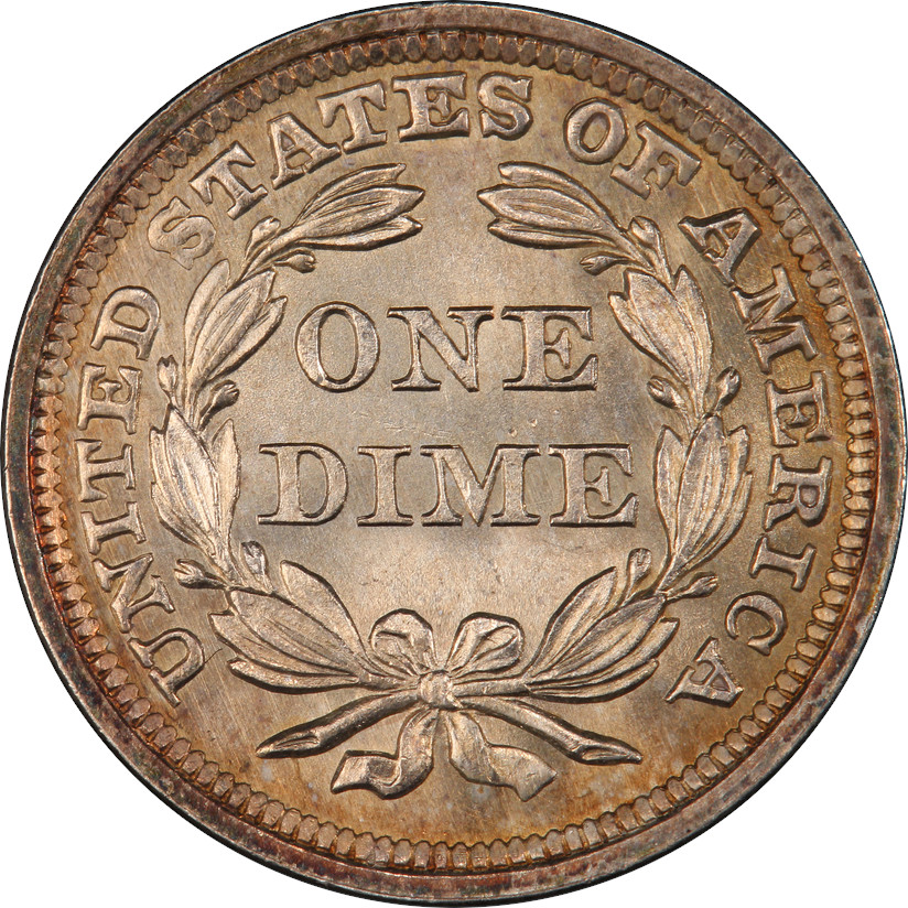 1859 Stars Seated Liberty Dime, Reverse