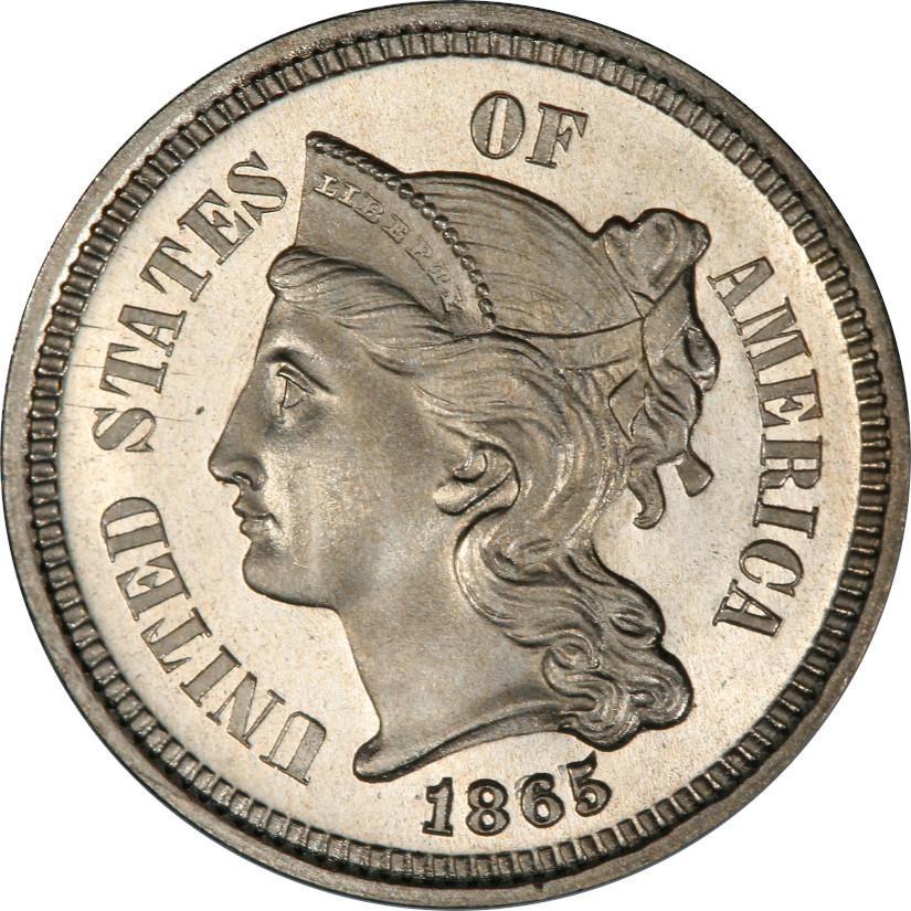 1865 Proof 3-Cent Nickel, Proof 67 Deep Cameo, Obverse