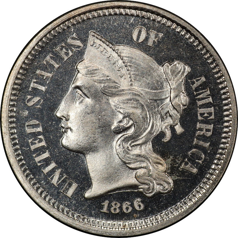 1866 Proof 3-Cent Nickel, Proof 66 Cameo, Obverse