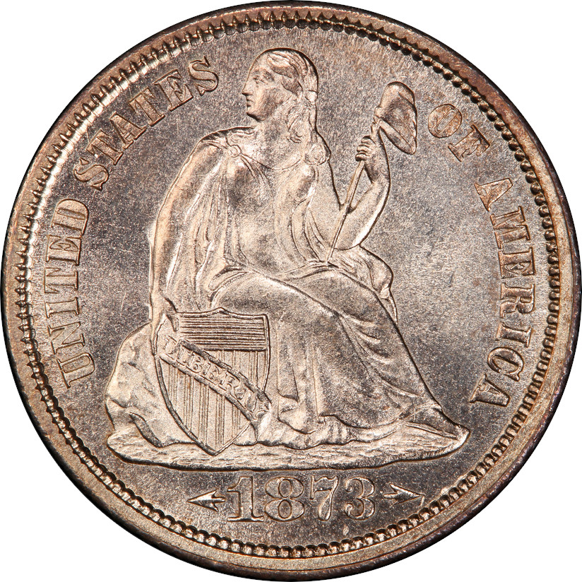 1873 Arrows Legend Seated Liberty Dime, Obverse