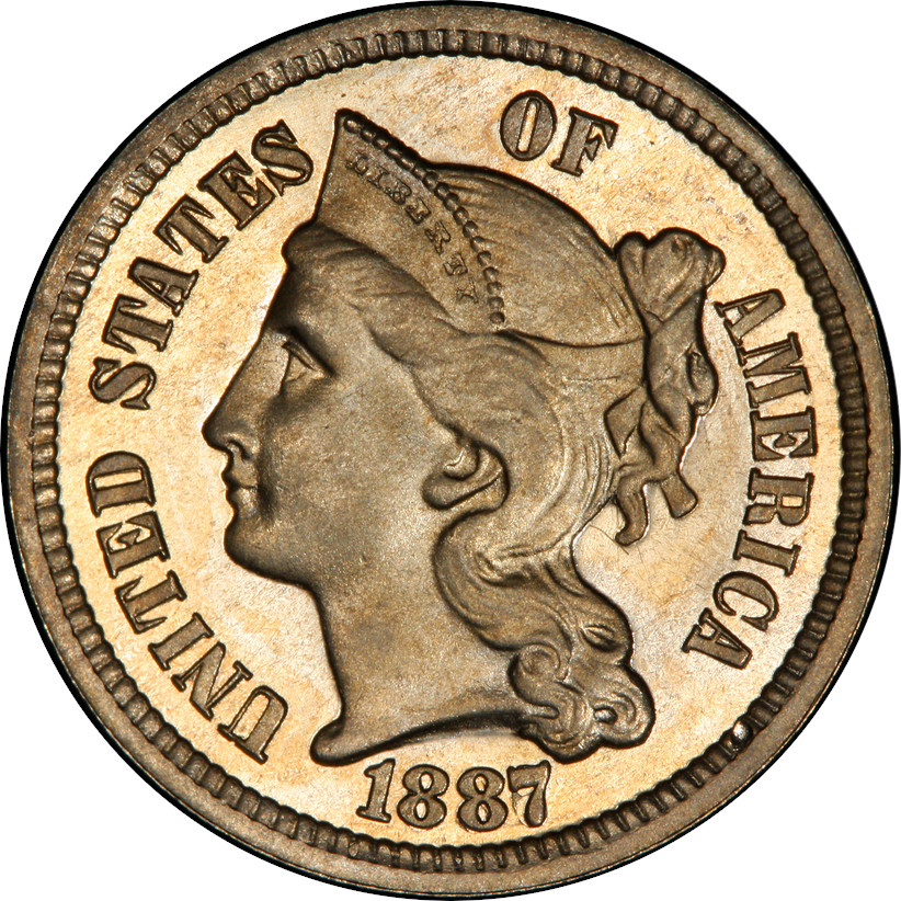 1887/6 Proof 3-Cent Nickel, Proof 65 Cameo, Obverse