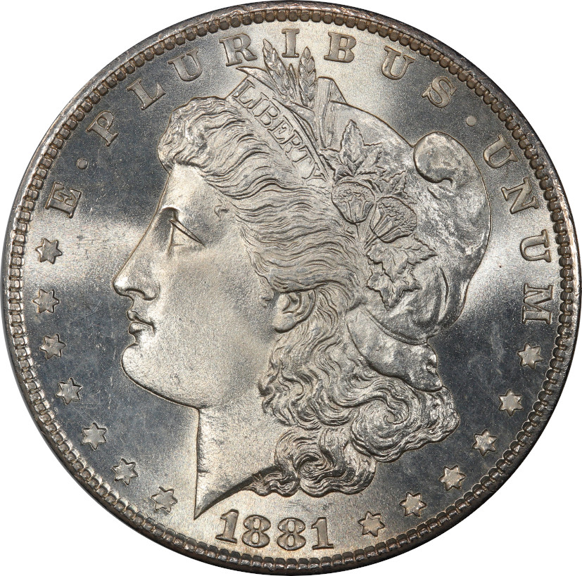 1881-S Morgan Silver Dollar, Untoned Mint State 67 - Obverse