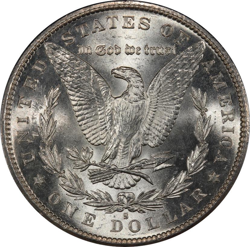 1881-S Morgan Silver Dollar, Untoned Mint State 67 - Reverse