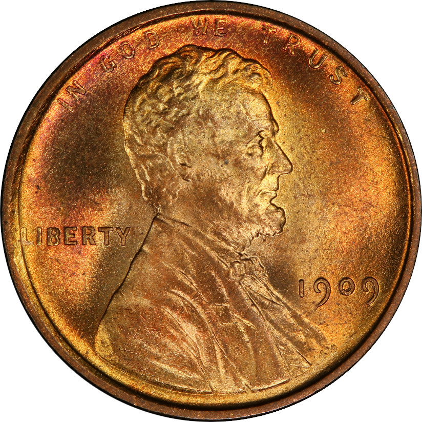 1909 Lincoln Cent certified Mint State 66 Red, Obverse. These seem to be selling for an average of $275 at time of writing, and falling only slightly in value at the moment.