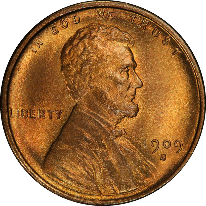 1909-S VDB Lincoln Wheat Cent in Mint State 67 Red, Obverse. A nice coin if you can get it! These coins have been falling in price in recent years. If you feel they'll go back up in value, now may be your time to buy!