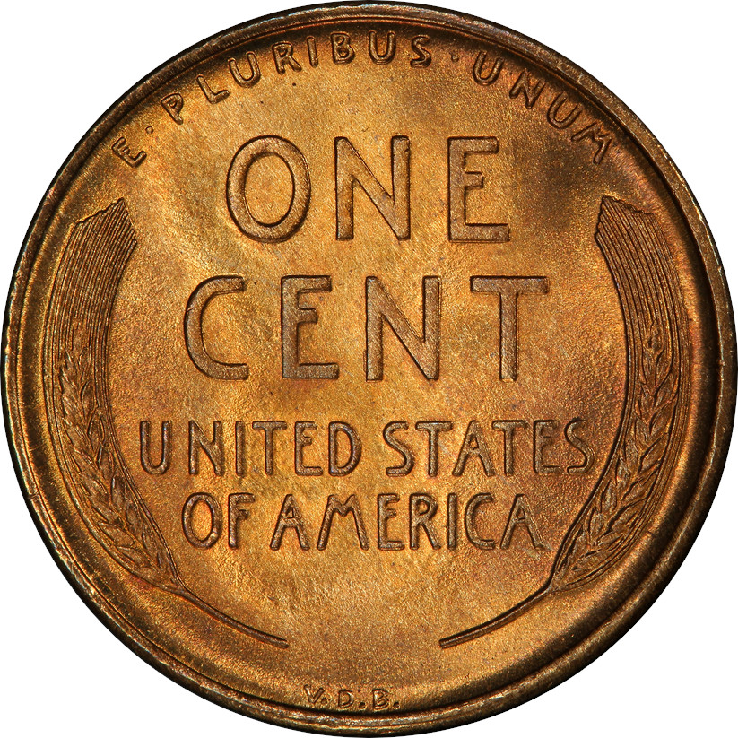 1909-S VDB Lincoln Wheat Cent in Mint State 67 Red, Reverse. These coins aren't coming to market often, surely frustrating the Registry Set collectors.
