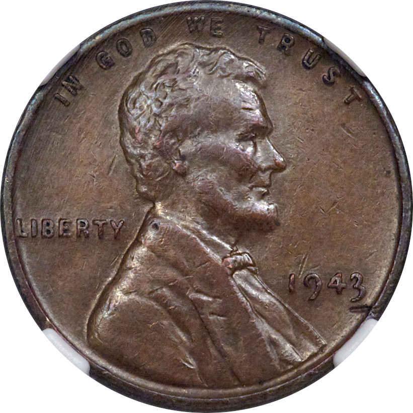 The obverse of the recently-sold Bronze 1943 Lincoln Wheat Cent, NGC AU53.