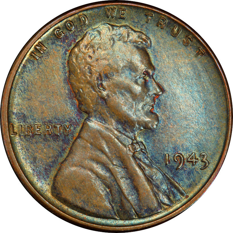 Bronze 1943 Lincoln Wheat Cent Obverse