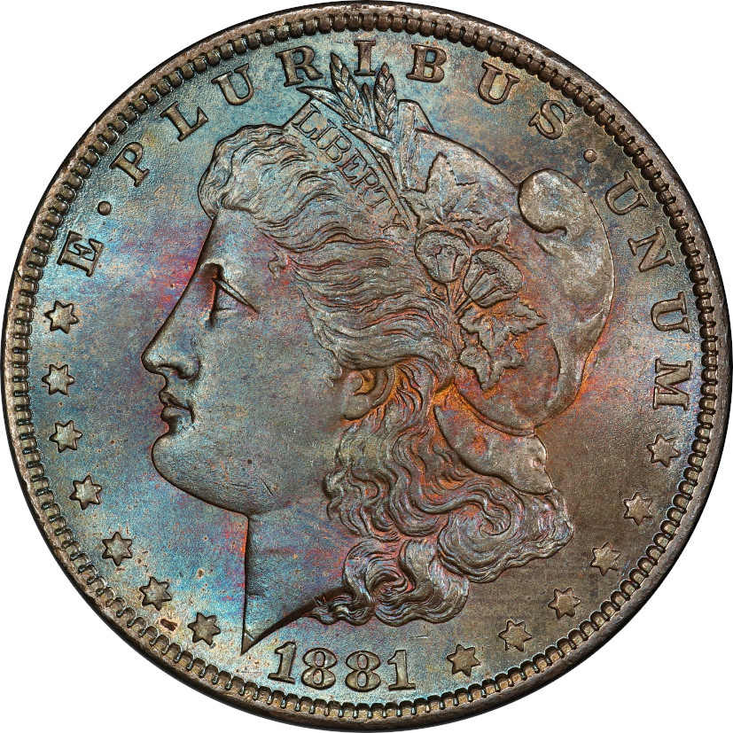 This coin is gorgeous! The colors are lovely, though not uniformly vibrant. We rated this coin 4/10, but you wouldn't be wrong if you were to disagree.