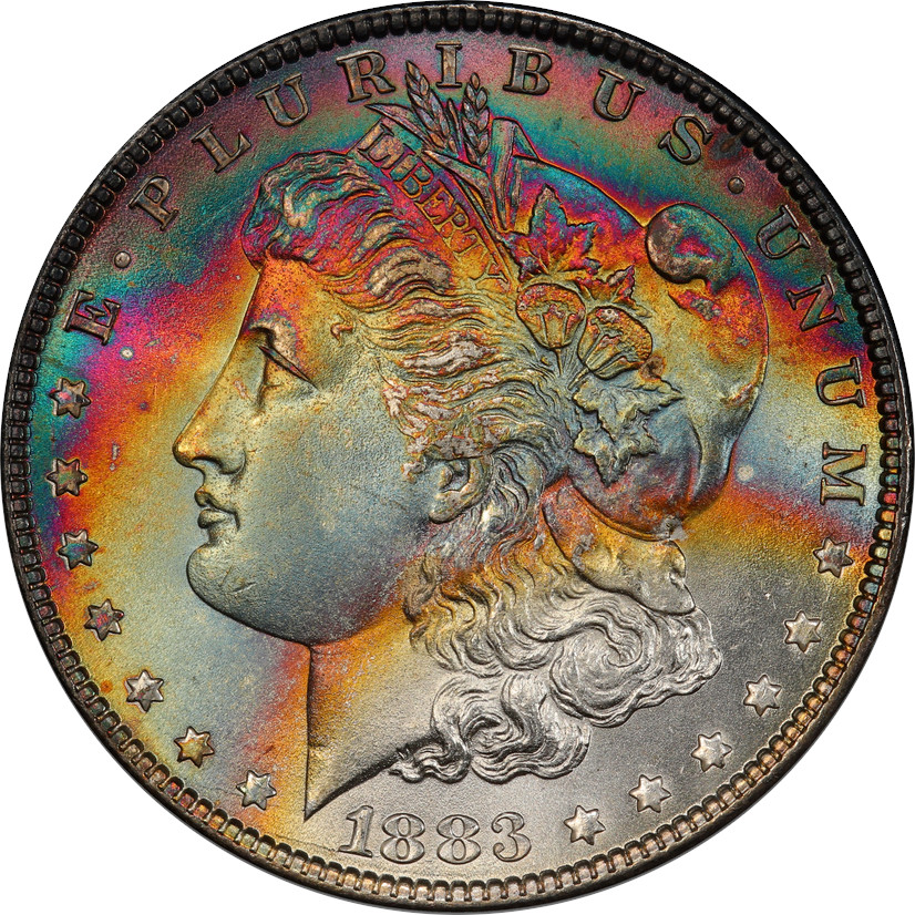 This coin has beautiful, deep toning. The colors are dark and mature and have a lovely shape. For this article, we rate this coin a 5/10 as there it's a bit blotchy and we really prefer radiant coins. It's very beautiful and if you disagree, nobody here will blame you.