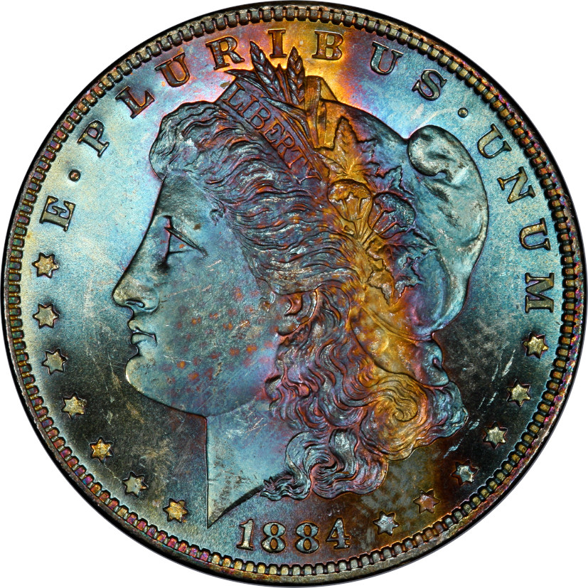 This coin has spectacular, radiant toning that is unique and beautiful. For the purpose of this article, we rate it 8/10. The reverse of this coin, like so many, only rates a 1/10 as it is untoned (but still eye appealing and beautiful).